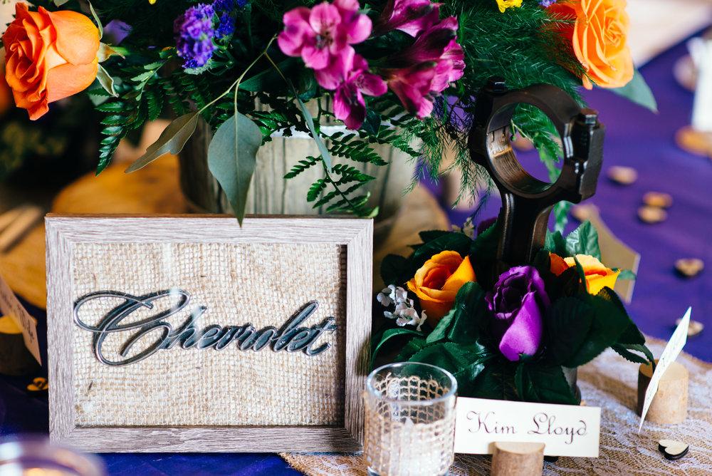 Chevrolet emblem and piston as DIY wedding decor