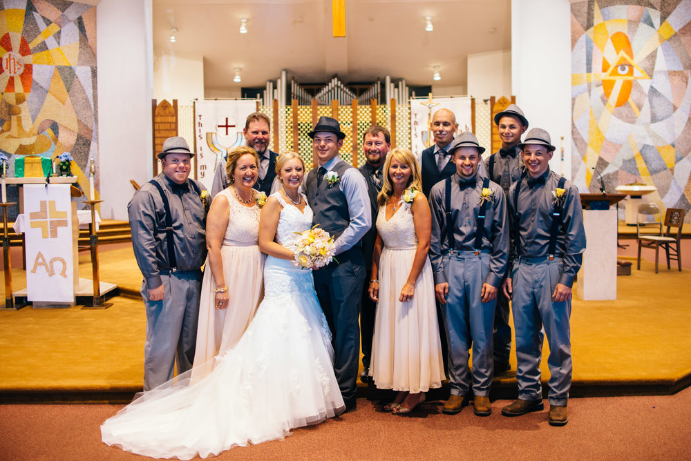 formal family portrait during wedding in Ebensburg PA church