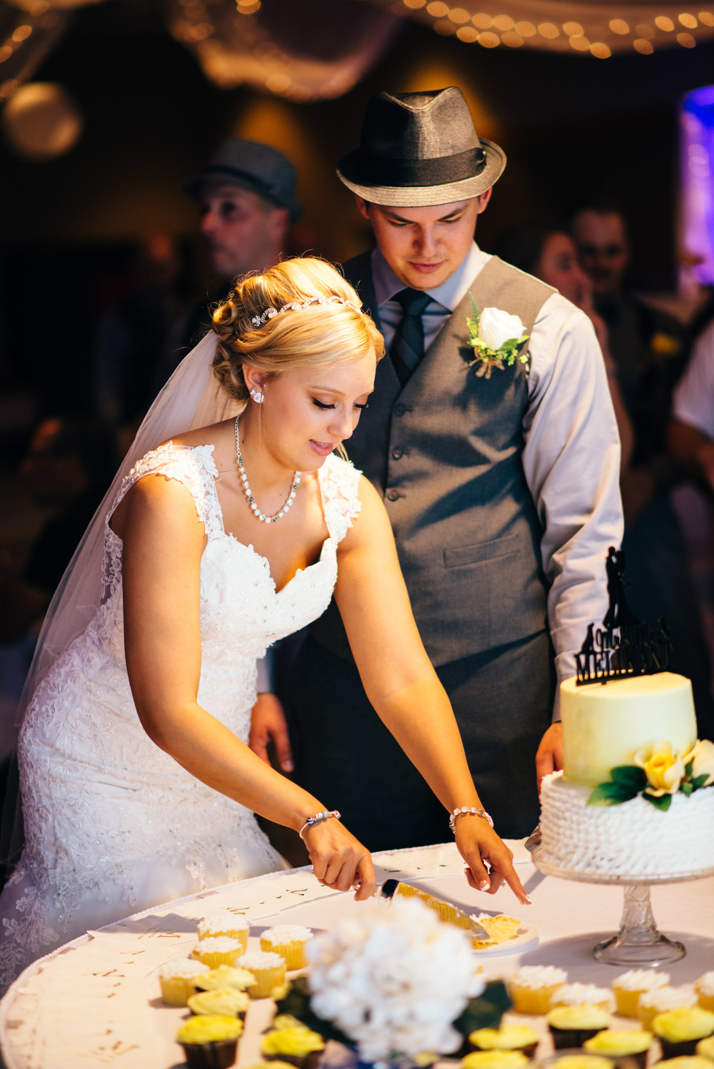 Bride and groom cutting cake at Carrolltown Fire Co. Banquet Hall