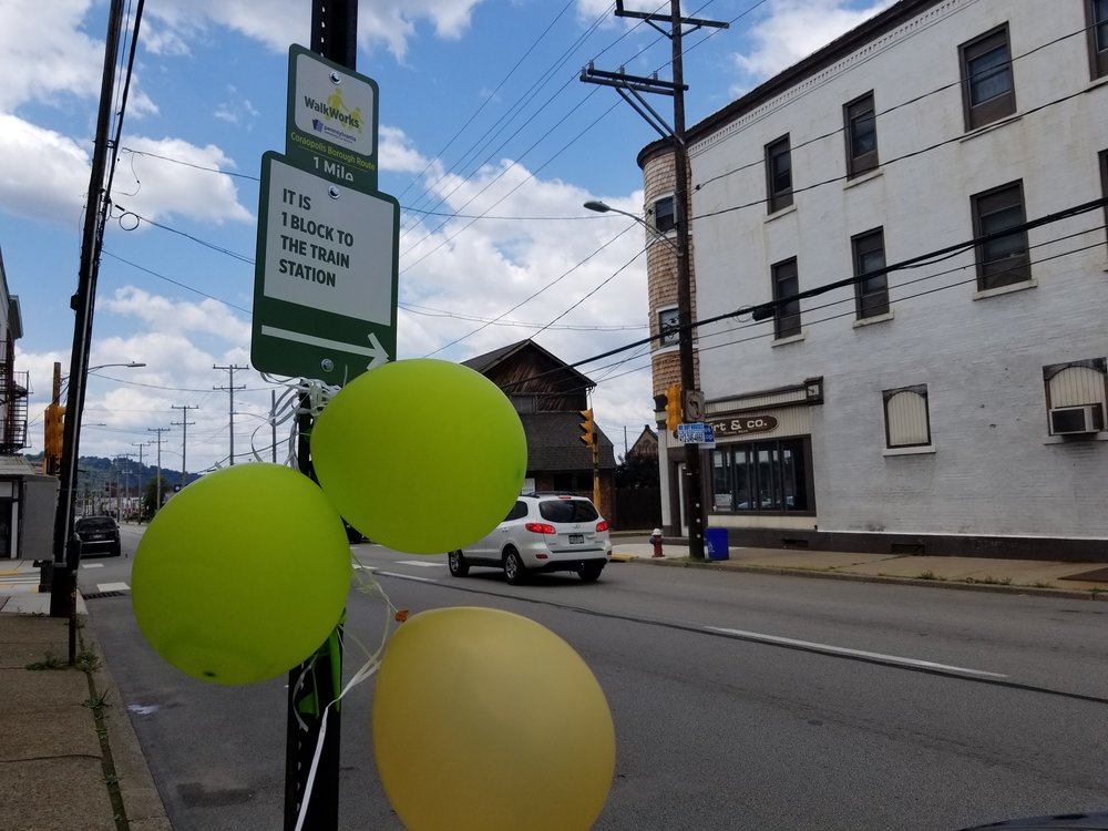 Signs provide a walking tour of downtown Coraopolis