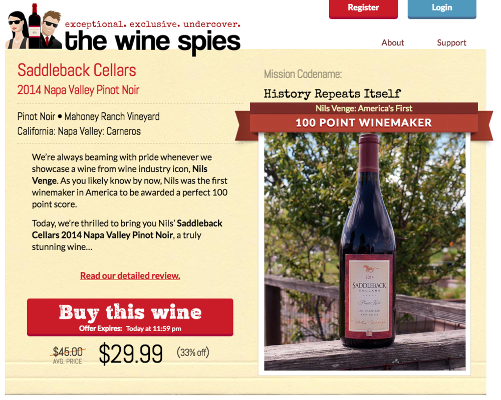 The Wine Spies - Wine based ecommerce engine.