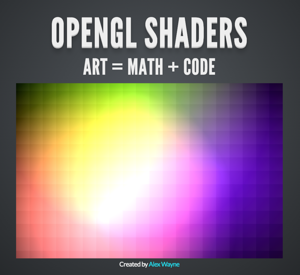 OpenGL Shaders - I presented at my local makerspace on this topic on April 24, 2014. I had recently discovered shaders, and became fascinated by how they turn code and math into art. But the also turn the the classic rendering model on its head: instead of rendering an object into pixels, you ask a program what color this pixel right here is.This presentation explains the basics of how it works and each code example has a real WebGL shader animating that very code.
