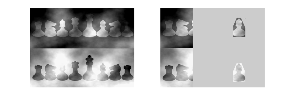 Figure 1: Which of these chess pieces is darker?                       Figure 2: The chess pieces are identical!