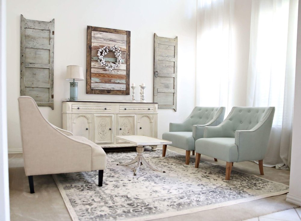 Living Room Seating Area With Beautiful Cloth Chairs, Vintage Rug,  Reclaimed White Buffet, And Petite Coffee Table. Rustic Custom Wall Art  With Cotton ...