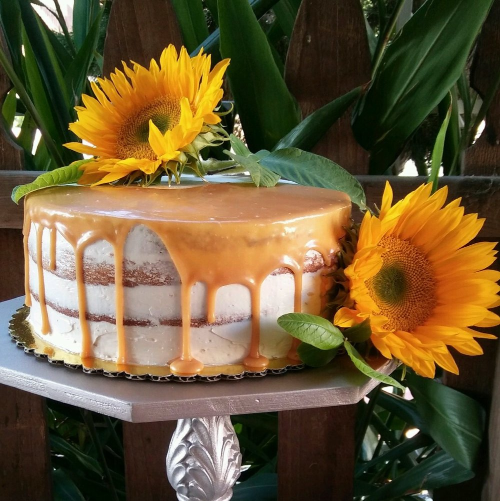 Party Cakes - Brown butter chocolate chip cake with caramel swiss meringue buttercream & fresh caramel drizzle