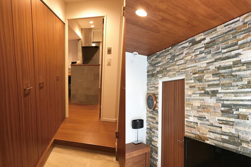 右/サンワカンパニーの天然石「パンピーウォール」を洗面とダイニングの壁に使用。左/玄関からキッチンを見る。キッチンの腰壁に張ったタイルもサンワカンパニー。