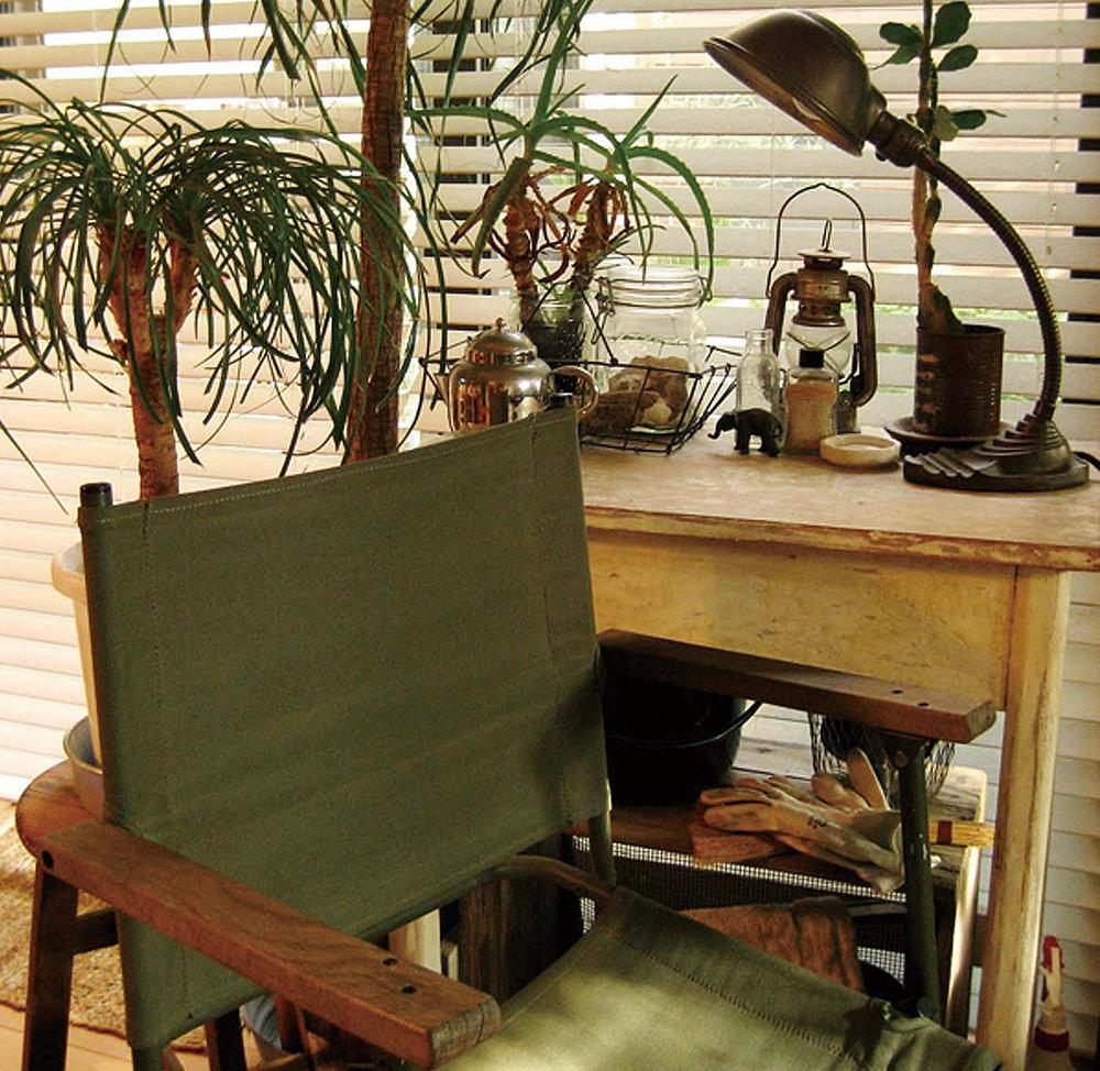 緑や茶など自然のなかにある色でインテリアを構成。