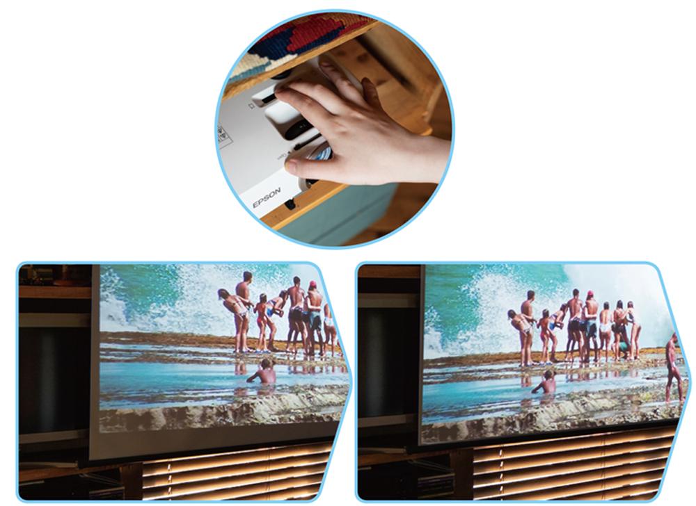 MORE USEFUL! 画面の歪みを解消! ピタっと補正機能  スクリーンの正面にプロジェクターを設置できず、投写した映像が台形状に歪んでしまったとしても、レバーのスライド操作で直感的にスクエアに補正できる。映像の微調整に、神経をとがらせずにすむ。
