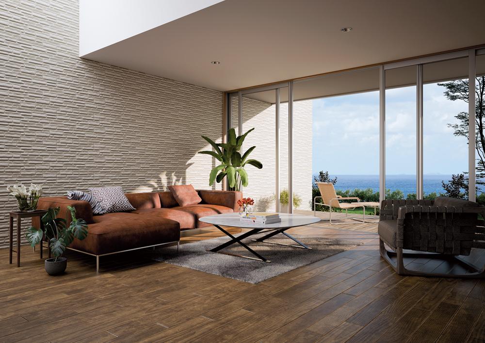 屋外だけではなく、室内にも連続的に取り入れれば、住まいに一体感と広がりを与えることができる。