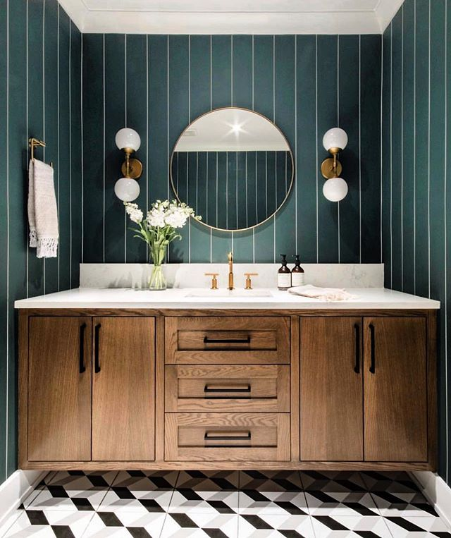 Bold bathrooms are the new black. Design by Canadian design firm @leclairdecor #stylefile #magnokitchens #sydneyinteriordesigners