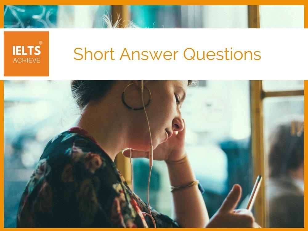 IELTS listening short answer questions
