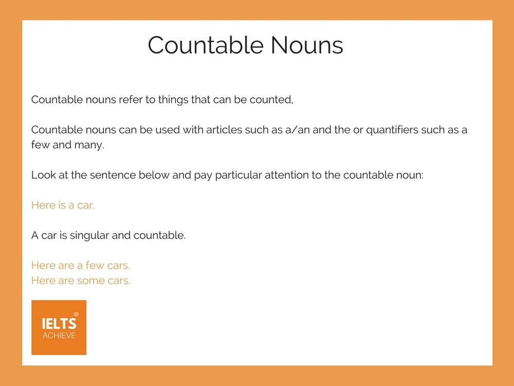 English grammar countable nouns