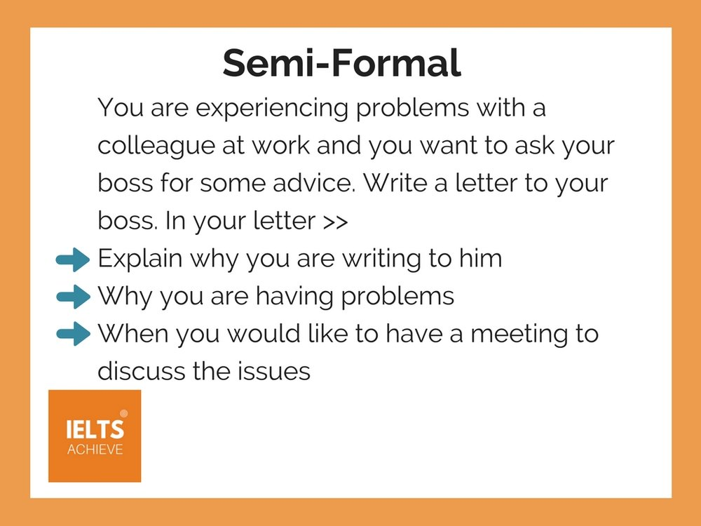 ielts general training semi formal writing style