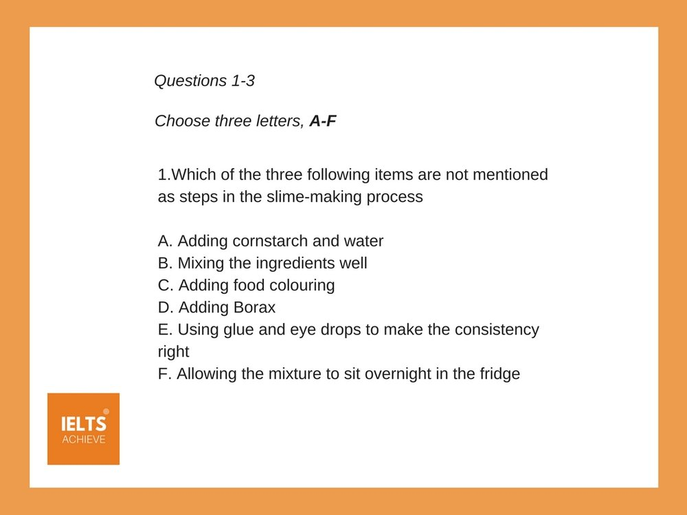 IELTS listening multiple choice question example