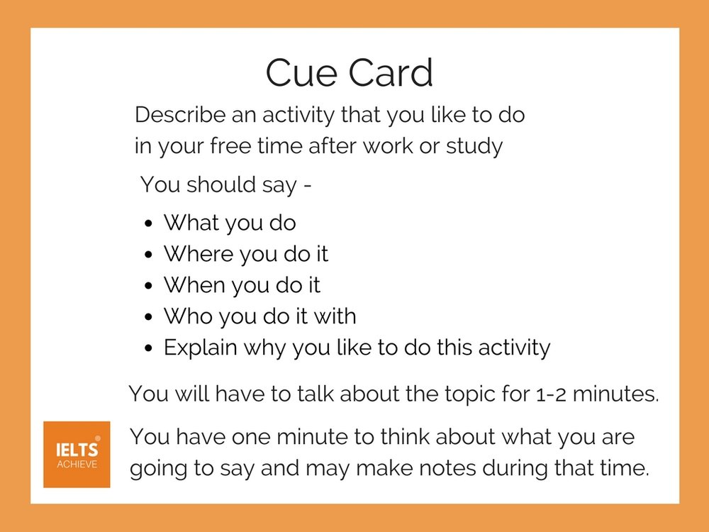IELTS speaking part 2 cue card on activities