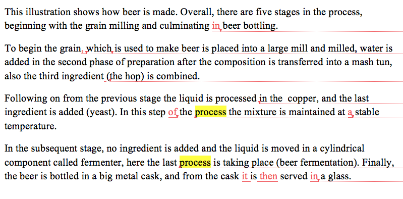 IELTS academic task 1 beer process student essay band score 7