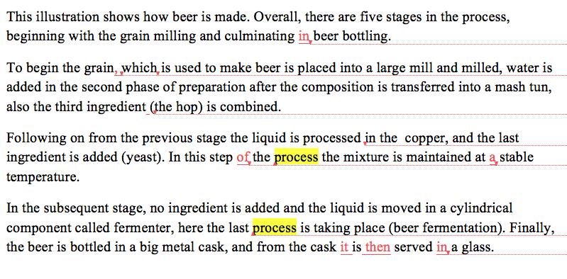 IELTS academic task 1 beer process student essay band score 7