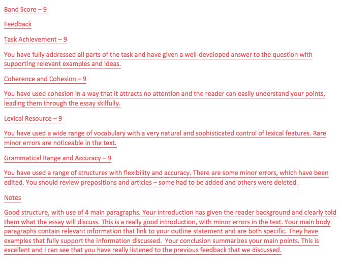 IELTS task 2 band score 9 essay feedback