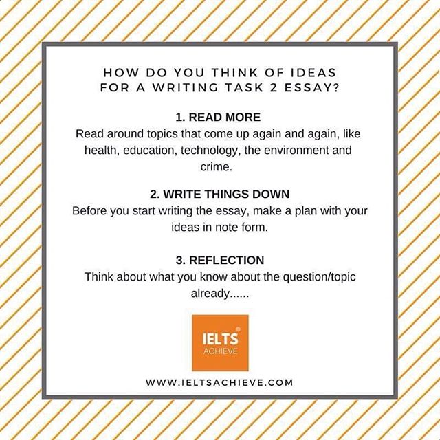 How do you think of ideas for writing task 2?  Many of my students struggle to think of ideas when faced with a question, especially when it is on a topic they feel they know little about.  Here are some ways that you can think of ideas for your next writing task 2 essay    ✨✨✨✨✨✨✨✨✨✨✨✨✨✨#ielts #ieltsclass #ieltstutor #ieltscourse #ieltsexam #ieltstest #ieltsprep #ieltspreparation #ieltswriting #ieltswritingtask2 #ieltstips #ieltsreview #ieltsteacher #ieltsteacher #ieltsachieve
