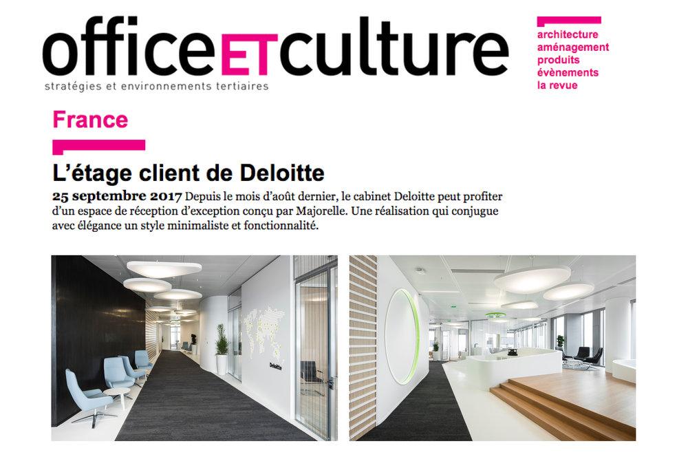 Depuis le mois d'août dernier, le cabinet Deloitte peut profiter d'un espace de réception d'exception conçu par Majorelle. Une réalisation qui conjugue avec élégance un style minimaliste et fonctionnalité.  Lire l'article ici.