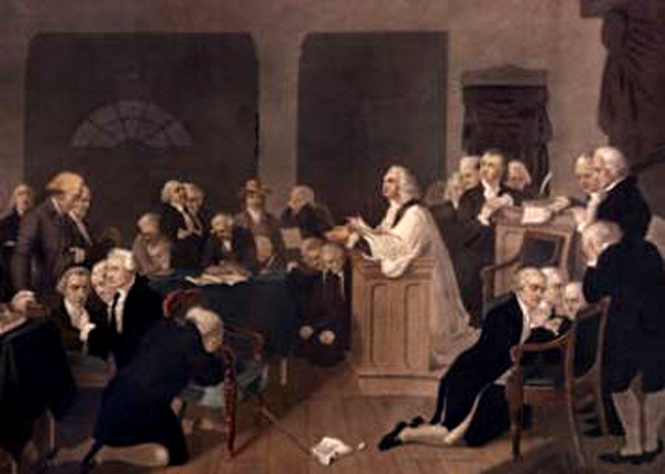 The Rev. Jacob Duché leading the first prayer for the Second Continental Congress, Philadelphia, September 7, 1774