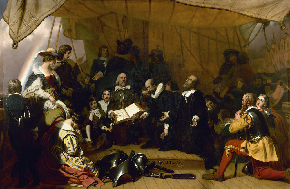 Embarkation of the Pilgims 1620  - Robert W. Weir, Artist - Rotunda U.S. Capital