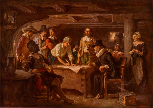 Signing the Mayflower Compact 1620 , a painting by Jean Leon Gerome Ferris – 1899 – Library of Congress