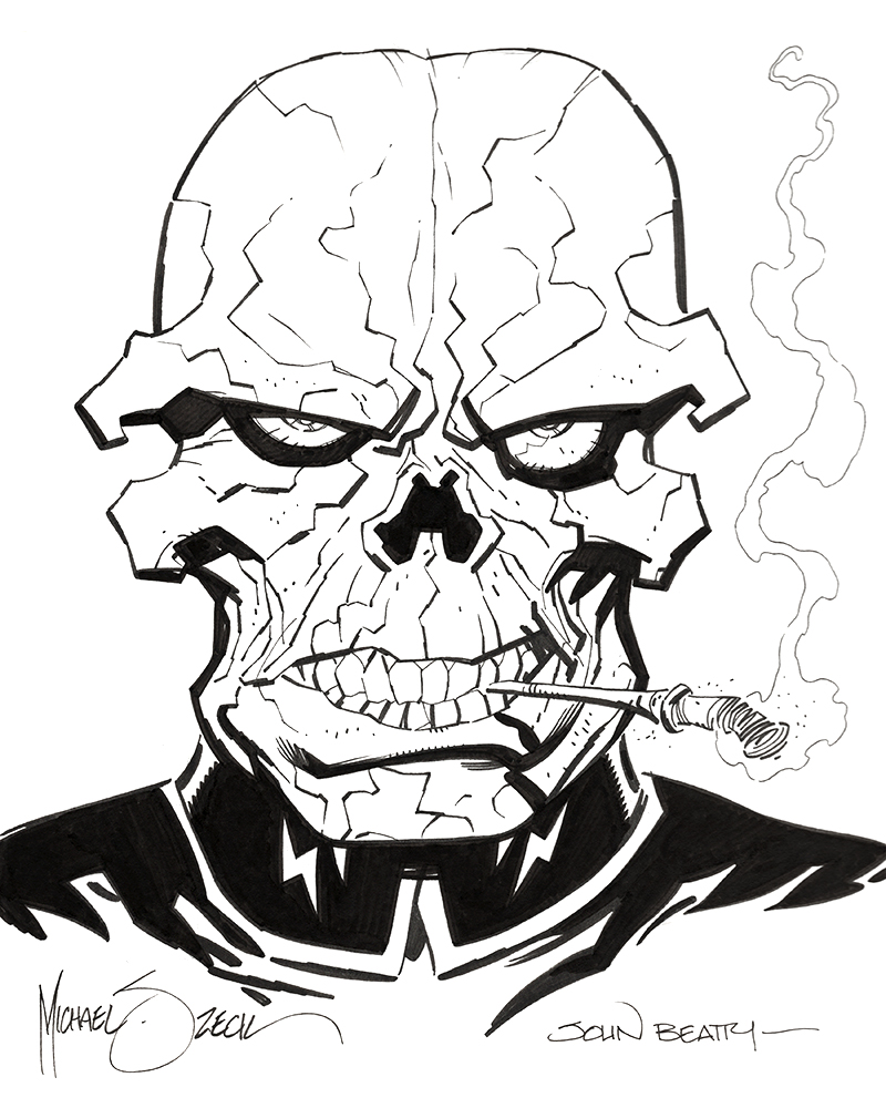"Zeck/Beatty ""Red Skull"" sketch combo - 9x12"" bristol board."