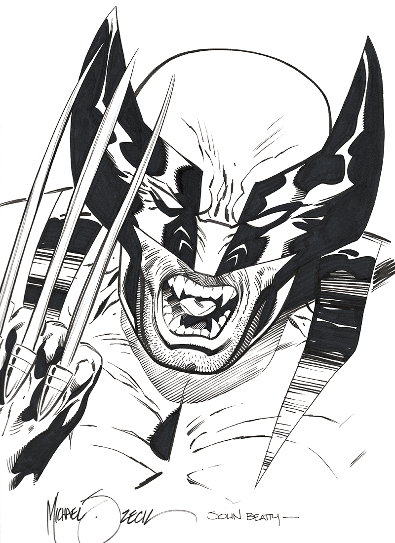 "Zeck/Beatty ""Wolverine"" sketch combo 9x12"" bristol board"