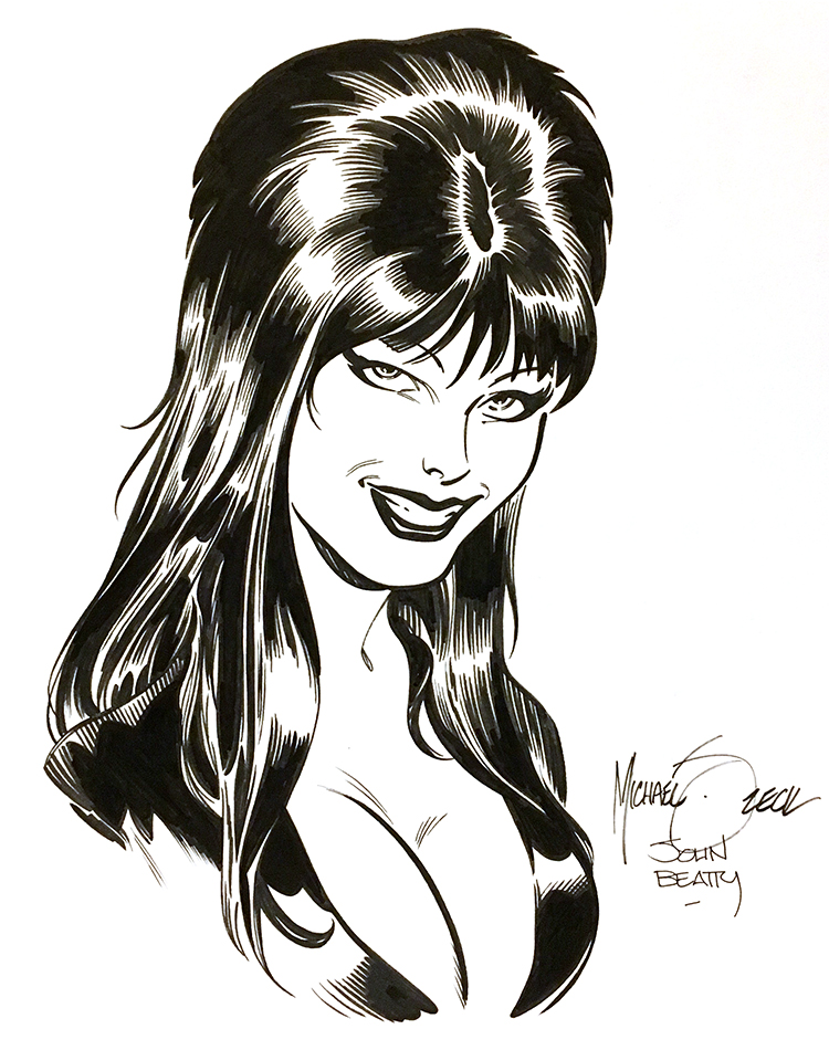 "Zeck/Beatty ""Elvira"" sketch combo - 9x12"" bristol board."