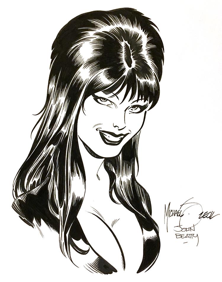 "Zeck/Beatty ""Elvira"" sketch combo - 9x12"" bristol board."