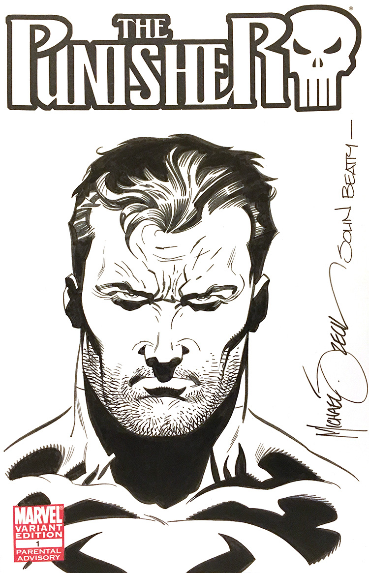 "Zeck/Beatty ""Punisher"" sketch combo on ""The Punisher"" Variant Edition 1 sketch cover."
