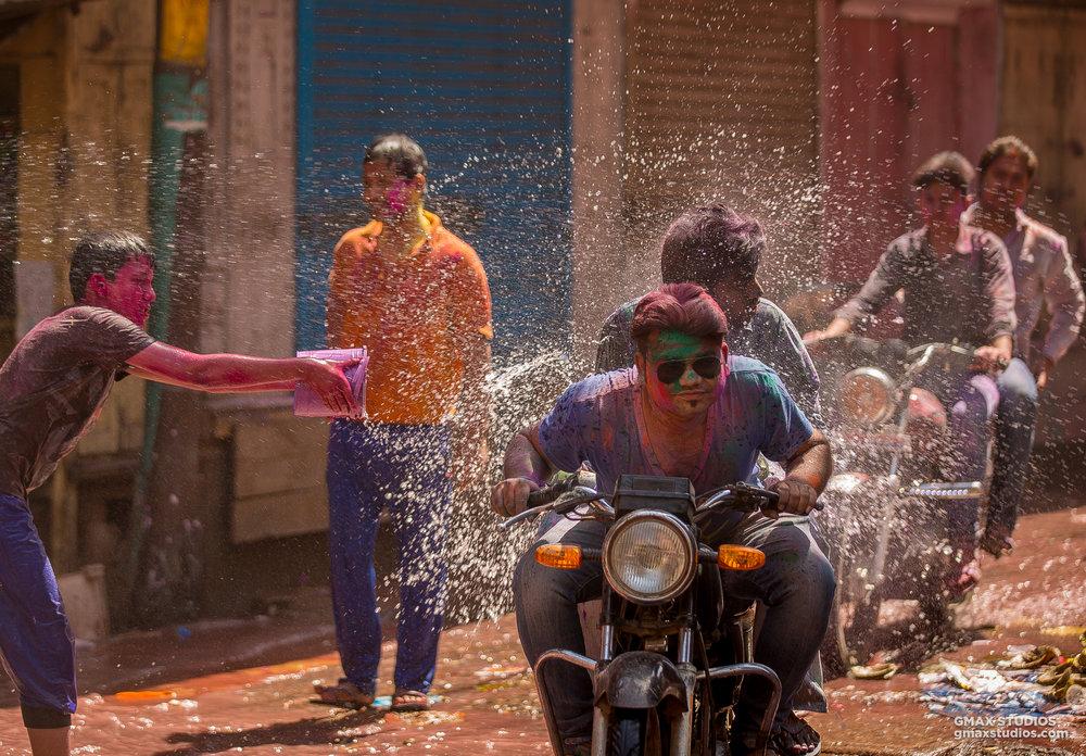 Holi celebrations were in full flow in Nandgaon.