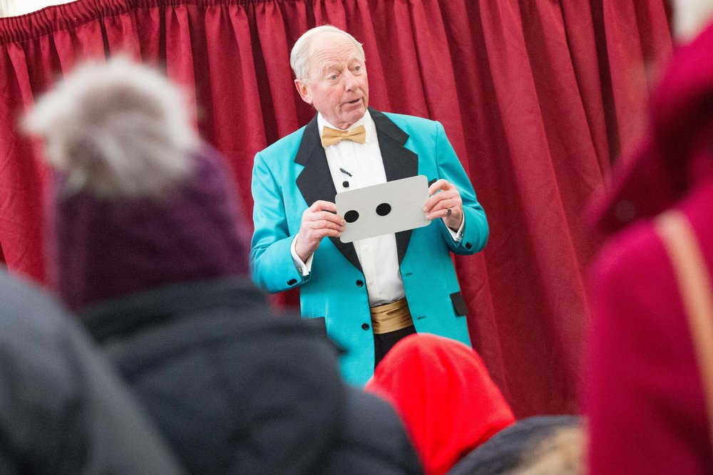 Mr Wizzo, a DW regular, entertaining the School Marquee visitors