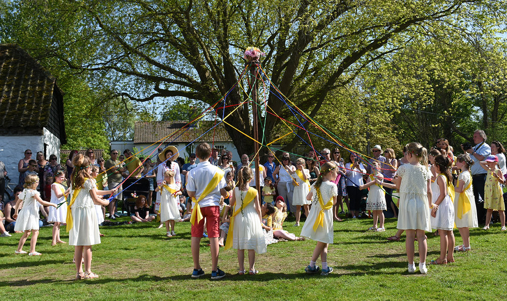 Maypole dancing from Thriplow Primary School