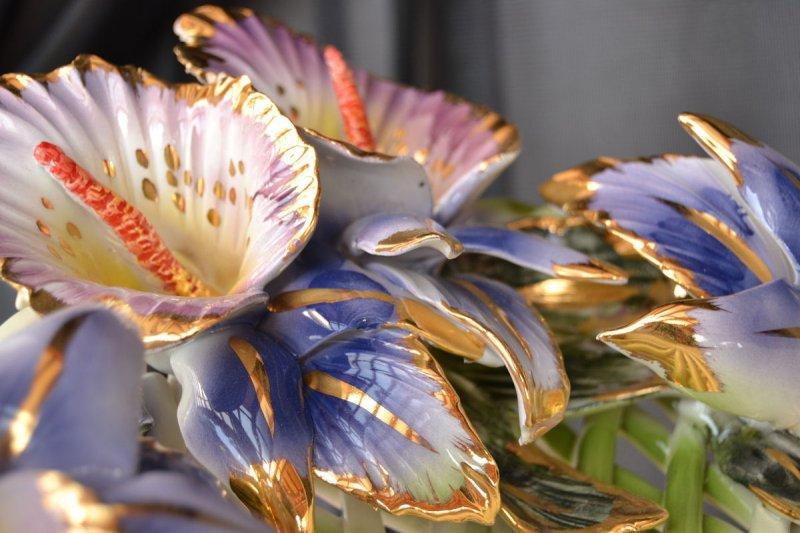 ANDROMACA - Złotem Kwiaty całkowicie ręcznie wykonany i zdobione