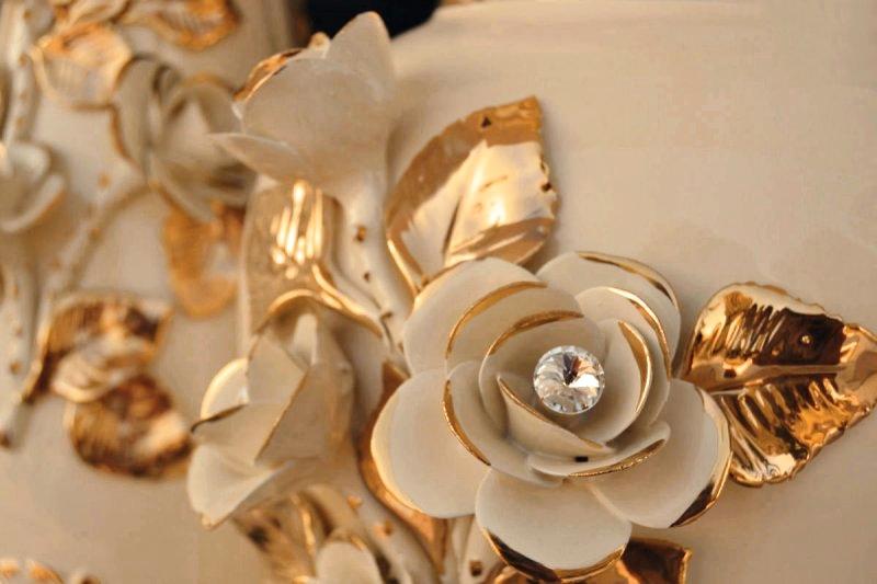 APRUS - Złotem Róże ręcznie wykonany Szampański i Biały