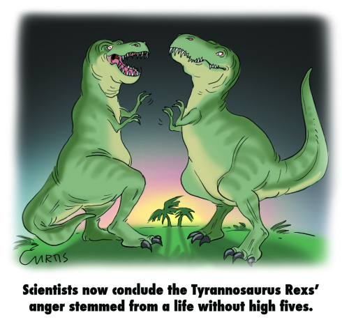 We could have used another stock image of people in suits shaking hands, but we've seen plenty of memes of dinosaurs trying to shake hands and high five each other -- and they're all hilarious.