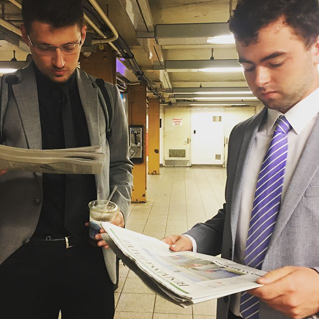 Using our commute wisely this morning by reading @wsj's business coverage on our way to tour Wall Street! #djnfbiz18