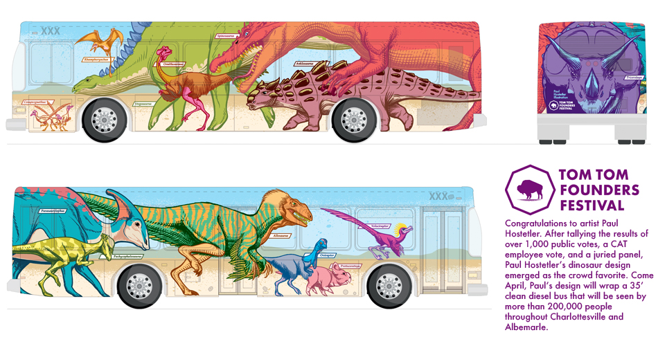 Concept art (and press release) for the 2017 Tom Tom Founders Festival Art Bus, via Charlottesville Area Transit. All dinosaurs are presented life-size.  Click through image to view details.