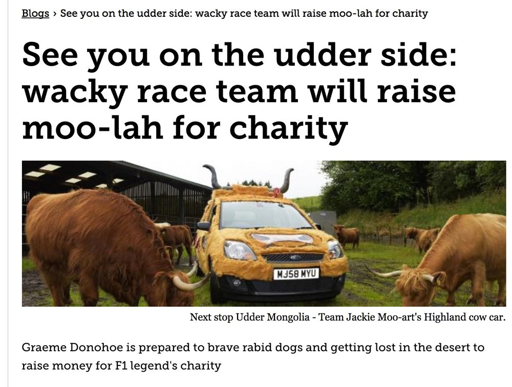 Wacky race team will raise moo-lah for charity -