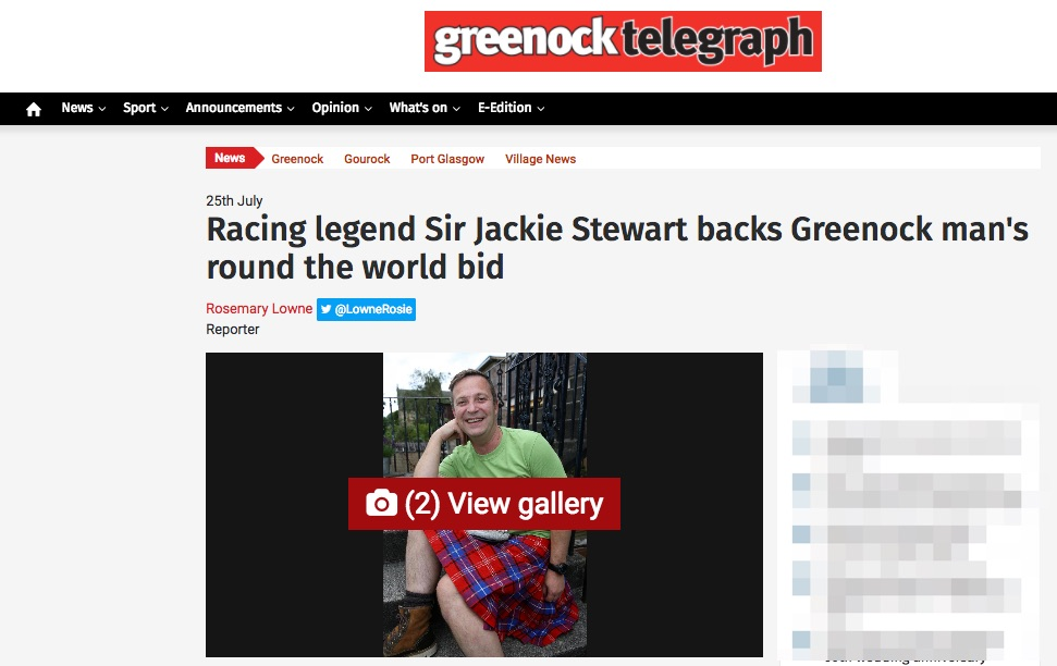 Racing Legend Sir Jackie Stewart back Greenock man's round the world bid -