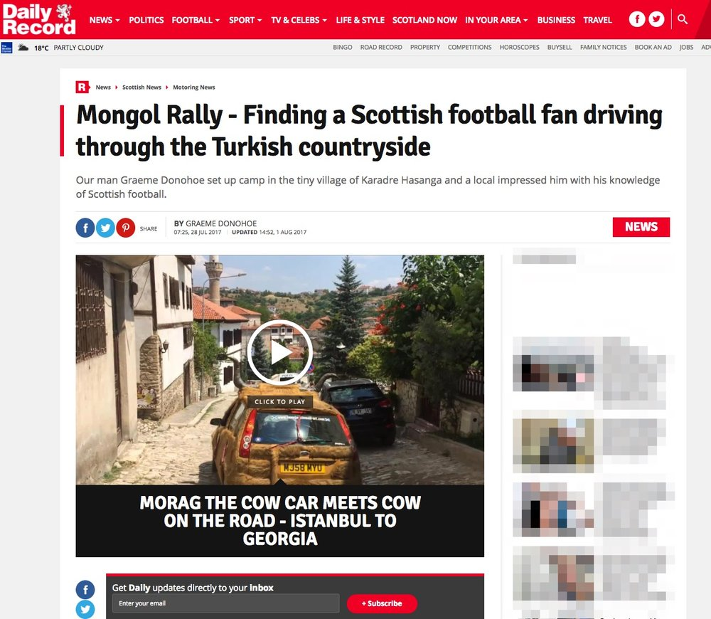 Finding a Scottish football fan driving through the Turkish countryside -