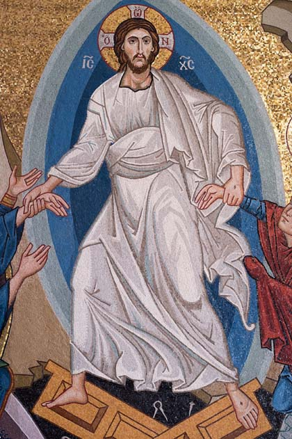 The resurrected Christ, showing simplified and emboldened modelling suitable for mosaic
