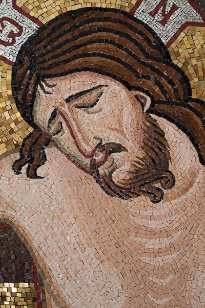 Christ crucified, showing consistancy of general tesserae size over a given area.