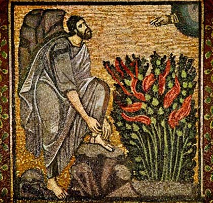 Completed mosaic of Moses and the burning bush, St Catherine's, Sinai, 6th century
