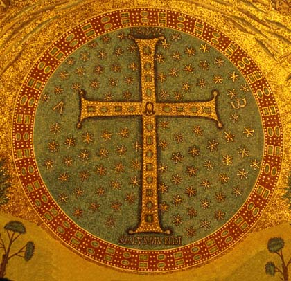 The jewelled Cross, sign of Christ's transfiguration, crucifixion and Second Coming