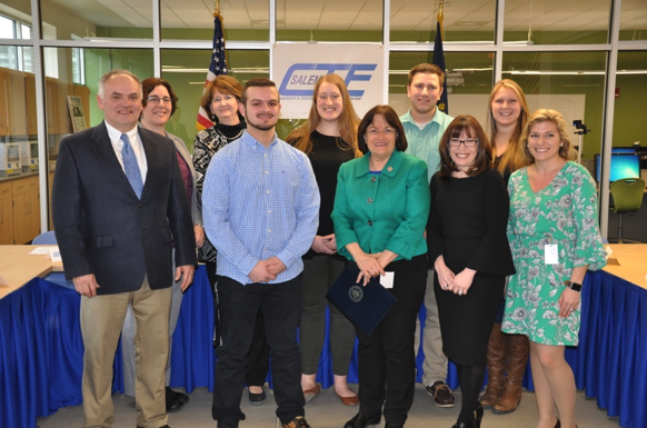 Salem CTE Director, Chris Dodge with CTE students, Congresswoman Ann McLane Kuster and panelists from industry.