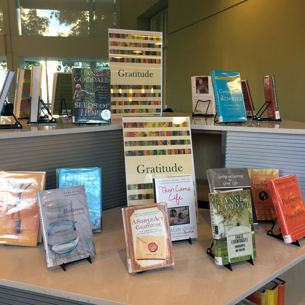 A display of books at Santa Monica Public Library.
