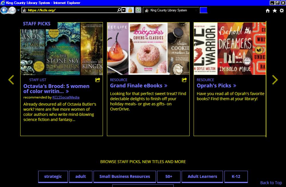 A BiblioWeb homepage viewed in High Contrast mode on Windows.